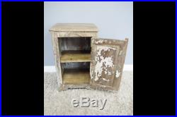 Reclaimed rustic style wood bedside side table unit storage cabinet Vintage
