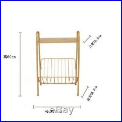 Rectangle Golden Iron Desk Top Linear Sofa Side Coffee Desk Lounge Bedside Table