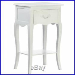 Romantic Country White Bedside Night Stand or Accent Side Table Drawer and Shelf