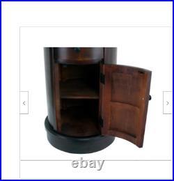 Round End Table Side Sofa Brown Antique Look Wood Storage Drawer Bedroom Bedside