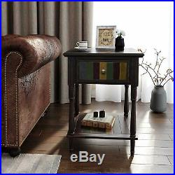 Rustic Accent End Side Table Bedside Drawer Shelf Vintage Country Wood Brown