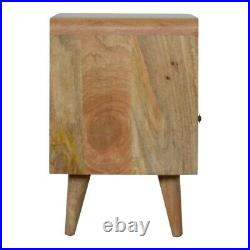 Rustic Funky Retro Scandinavian Style Curved Edge Bedside Side Table with Drawer