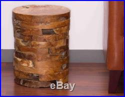 Rustic Table Accent Side Nightstand Solid Wood Round Bedroom Bedside Lounge New