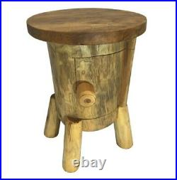 Rustic Wooden Root Driftwood Side Bedside Table. Alice In Wonderland. Fairtrade
