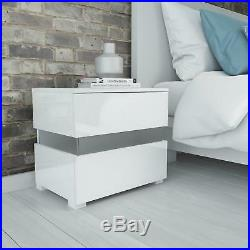Sense White High Gloss Bedside Table With LED Light Bedroom Modern Drawer Side