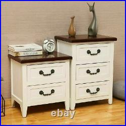 Set OF 2 Solid Wood Nightstand End Table Bedroom Storage Wood Side Bedside Brown