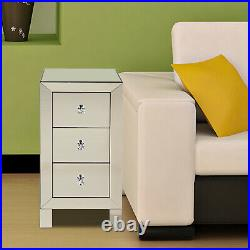 Set Of 2 Modern Mirrored Nightstand End Table Bedside Mirrored End Side Table