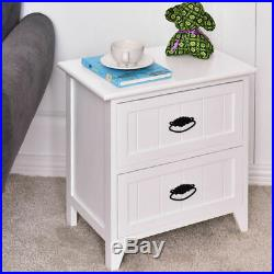 Set Of 2 Nightstand Storage Wood End Table Bedroom Side Bedside White With2 Drawer