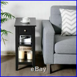 Set of 2 3-Tier Nightstand Bedside Side End Table withDouble Shelves Drawer Black