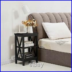 Set of 2 Finish Nightstand Bedside Table Shelf Bedroom Black End Side Storage