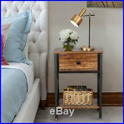 Set of 2 Finish Nightstand Bedside Table Shelf Bedroom Brown End Side Storage