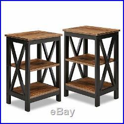 Set of 2 Finish Nightstand Bedside Table Shelf Bedroom Brown Side End Table