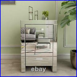 Set of 2 Mirrored Nightstand 3 Drawer Crystal Accent Silver Bed Side Table
