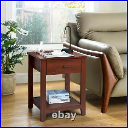 Set of 2 Night Stand End Side Table Bedside Sofa Accent Table With Drawer & Shelf