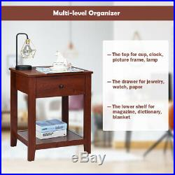 Set of 2 Night Stand End Side Table Bedside Sofa Accent Table withDrawer and Shelf