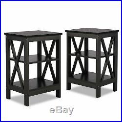 Set of 2 Nightstand Bedside Table End Side Storage Shelf Bedroom Black Finish