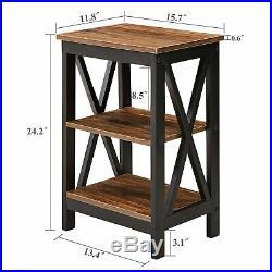 Set of 2 Nightstand Bedside Table End Side Storage Shelf Bedroom Brown Finish