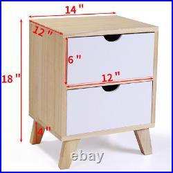 Set of 2 Nightstand End Table Bedroom WithStorage Organizer Wooden Side Bedside