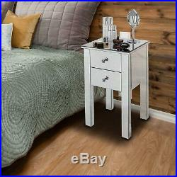 Set of 2 Sofa Side End Table Mirrored Finished Living Room Bedside Naghtstand