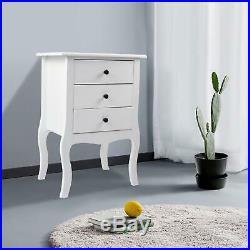 Set of 2 White 3 Drawer Bedside Bedroom Side Table Nightstand Cabinet Storage