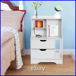 Set of 2 Wood White Sofa End Side Bedside Table Nightstand With Drawer Storage