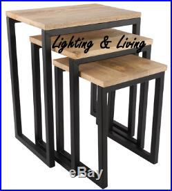 Set of 3 table matt black mango wood Industrial Bed side table lamps stable