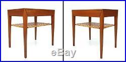Severin Hansen Jr. Teak & Cane Side End Bedside Table Haslev Mobelsnedkeri 60's