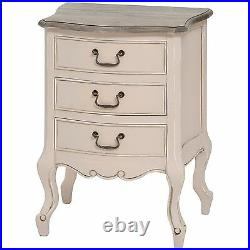 Shabby Chic Country Grey Fully Assembled Wooden 3 Drawer Bed Side Cabinet Table