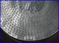 Silver Aluminium Drum Side Table Metallic Small Wine Bedside Stool Madhuri Nkuku