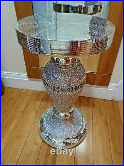 Silver Mirrored Crushed SideTable Modern Plant Stands Bed Side Sparkle End
