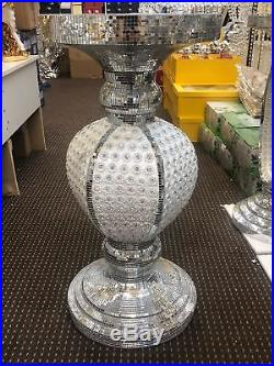 Silver Mirrored Table Modern Flower Stand Bed Side Pearl Lamp Romany Mosaic UK