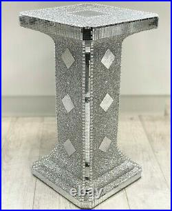 Silver VENETIAN Mirrored Table Modern Flower Stand Bed Side Lamp Romany Mosaic