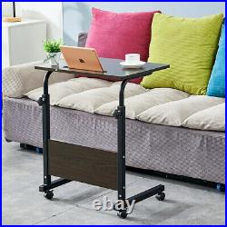 Simple Rolling Sofa Bed Side Table Laptop Desk Tray Stand Adjustable Height New