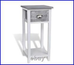 Small Table Hall Plant Stand Bedside Lamp Cabinet White Grey Wood Side Drawer
