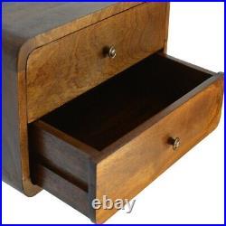 Solid Dark Wood Scandinavian Style 2 Drawer Wall Mounted Bedside Side Table