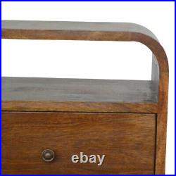 Solid Dark Wood Scandinavian Style Curved Edge Bedside Side Table with 2 Drawers