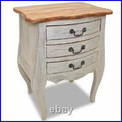 Solid Reclaimed Wood Bedside Cabinet with3 Drawers Nightstand Side Sofa End Table