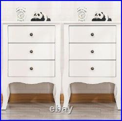 Solid Wood 3 Drawers Nightstand End Table Bedroom Storage Hard Wood Side Bedside