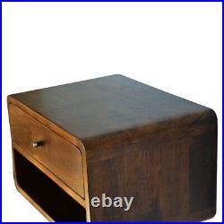 Solid Wood Dark Wood Scandinavian Style Wall Mounted Bedside Side Table