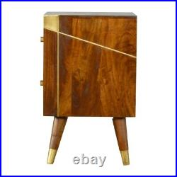 Solid Wood Retro Art Deco Style Geometric Gold 2 Drawer Bedside Side Table