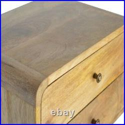Solid Wood Scandinavian Rustic Oak 2 Drawer Wall Mounted Bedside Side Table