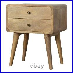 Solid Wood Scandinavian Style Rustic Oak Colour Curved Edge Bedside Side Table