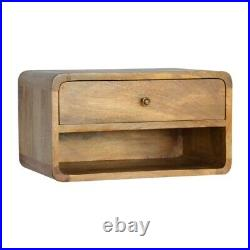 Solid Wood Scandinavian Style Rustic Oak Colour Wall Mounted Bedside Side Table
