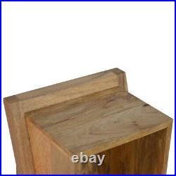 Solid Wood Scandinavian Style Rustic Oak Unusual Leaning Bedside Side Table