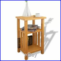 Solid oak End Side Table Night Stand Sofa Bedside Accent Table with 2 Shelf New