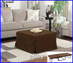 SpaceSaving Folding Ottoman Sleeper Guest Bed Side Table with Cover No Assembly