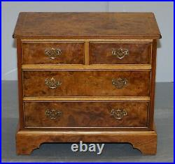 Stunning Pair Of Burr & Burl Walnut & Elm Bedside, Side Table Chest Of Drawers