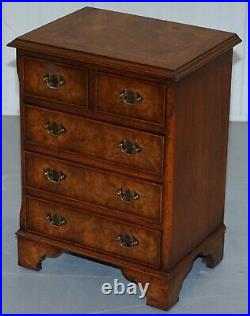Stunning Small Burr Elm Chest Of Drawers Lamp End Wine Bed Side Table Sized