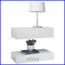TV Stand RGB LED Bedside Cabinet 2 pcs Storage Nightstand Floating Side Table