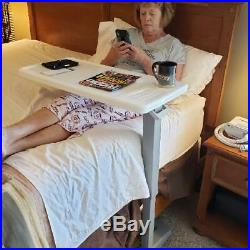 Table Overbed Adjustable Bed side Hospital Rolling Tables With Wheels